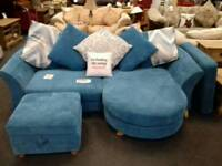 4 seater chaise sofa upholstered in blue fabric - British Heart Foundation