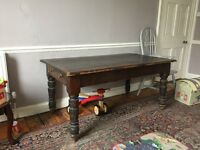 Traditional style wooden desk with leatherette surface and two drawers. 5ft by 3ft.