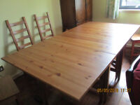 IKEA LARGE SOLID PINE DROP LEAF TABLE AND 4 CHAIRS