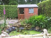 Pond scenery, plants, rocks and waterproof sheet