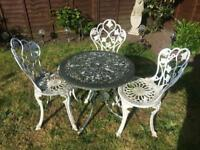 Vintage style metal garden table and chair set . Delivery Possible