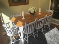 Solid Pine Dining Table and 8 Chairs - Dove Grey