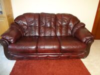 Burgundy colour leather 3 seater settee and armchair