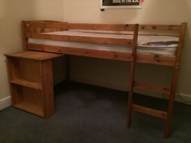 MIDI Sleeper Cabin Bed Frame with Mattress & pull out Desk With Book Shelf on end.