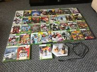 Xbox 360 with Kinect and games.