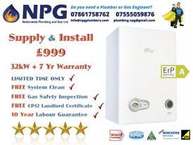 Combi Boiler + Supplied & Installed + 7 Years Warranty= £999 Ferroli Modena 32kW ErP Leicestershire