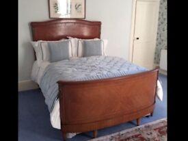 ANTIQUE FRENCH WALNUT CORBEILLE BED FRAME & PRISTINE DIVAN SET COST AROUND £800 ORMOLU MOUNTS
