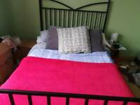 Metal double bed frame + mattress