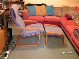 Poang chair and matching foot stool (Ikea) Very good condition.