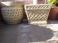 TWO CONCRETE PLANTERS IN EXCELLENT CONDITION £30 THE PAIR