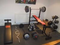 Set of Weights incl. bench, bars, sit up bench, dumbells