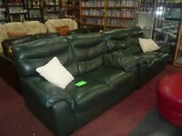 Dark Green Leather 2 + 2 Seater Suite