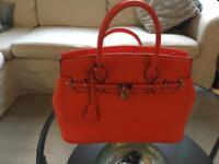 Large Orange Kelly-style Handbag