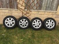 15ins Vauxhall alloy wheels with 4 new tyres