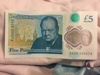 New £5 note, AA25 code