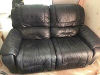 * Great condition. DFS! Black leather sofas and pouffe