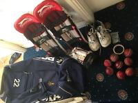 Cricket equipment bag pad gloves shoes balls excellent condition for sale
