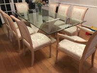 Glass Dining Table & 8 chairs with matching coffee table