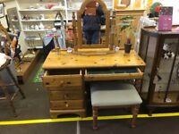 3 Piece pine dressing table set vintage