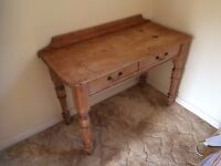 Pine vintage desk with two drawers