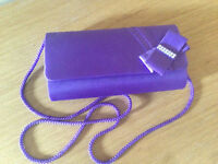Evening bag, purple with diamante detail also shoes to match