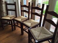 Four Oak Ladder Back Dining Chairs