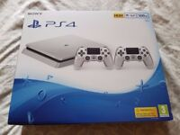 Playstation 4 Slim Console, 500GB Silver limited edition (With 2 Silver Pads), Boxed