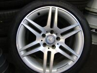 "GENUINE MERCEDES C CLASS 17""AMG ALLOYS WITH TYRES"