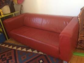 IKEA red leather 3 seater sofa - pick up only, price negotiable.