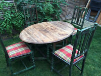 Gorgeous shabby sheek drop leaf oak table with 4 chairs, solid wood