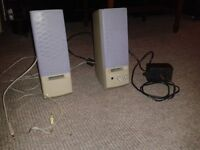 Computer/PC speakers, Mio, grey, good condition, complete with cables and plug