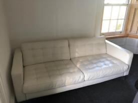 2 seater cream leather sofa - £125 ono