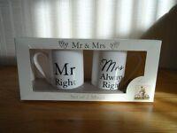 Mr Right & Mrs Always Right Mug Set (New & Boxed)