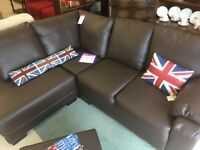 BROWN LEATHER CORNER SOFA WITH FOOTSTOOL - NEW OTHER