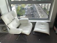 Classic Eames lounge chair & Ottoman - cream leather