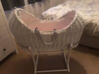 White wicker Moses basket and rocking stand