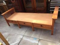 Brown Wooden bench with drawers