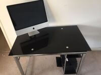 Morden black glass desk