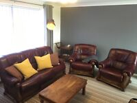 Leather & Wood Sofa Suite and 2 Chairs