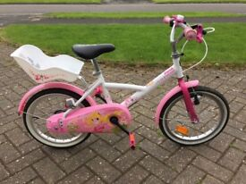 "BTWIN Liloo Princess children's 16"" bike – white and pink"