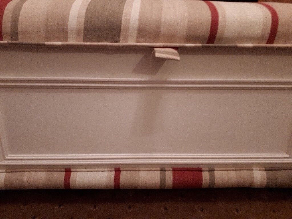 Ottoman Upholstered in Laura Ashley Stripe Fabric