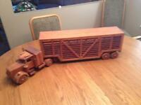 Hand made wood 18 wheel cattle liner.