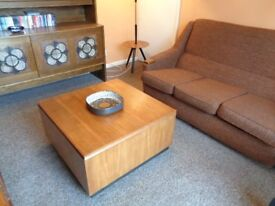 Vintage Danish Style, Large Teak Storage Coffee Table