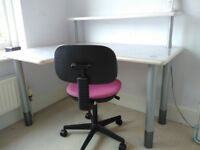 Adjustable height child's corner desk and chair
