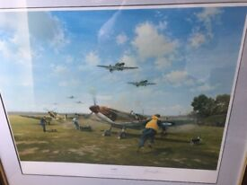 "Limited edition (82/850) Signed Limited Edition Spitfire Print ""Scramble"" by Gerald Coulson"