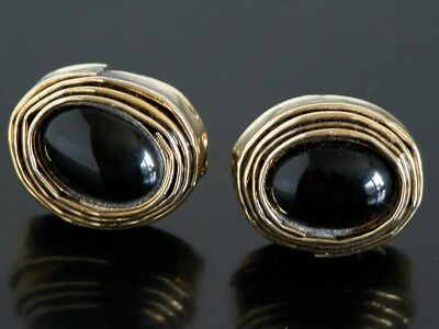 - Vtg Handmade Chunky Onyx Black Stone CuffLinks Gold Tone Art Wear