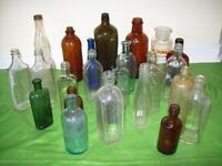 Variety of ANTIQUE BOTTLES +ANTIQUE Crown Mason JARS