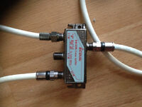 3 way cable splitter with coax cable x3 new