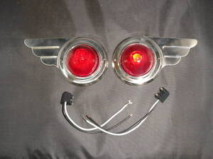 travel-trailer-vintage-Deco-Wing-Lights-1-Pair-bullet-lens-steel-markers-wiring