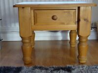 Solid Pine Coffee Table with draw, Top60x60 cm height 48 cm, this table is second hand